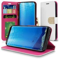 Insten White Leather Case Cover Lanyard with Stand/Wallet Flap Pouch/Diamond For Samsung Galaxy S8