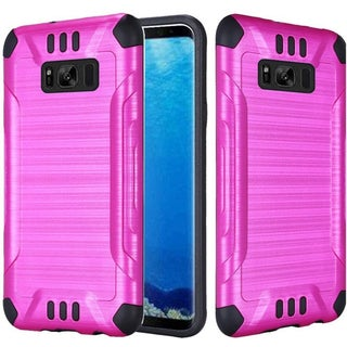 Insten Hot Pink/Black Slim Armor Hard Snap-on Dual Layer Hybrid Brushed Case Cover For Samsung Galaxy S8