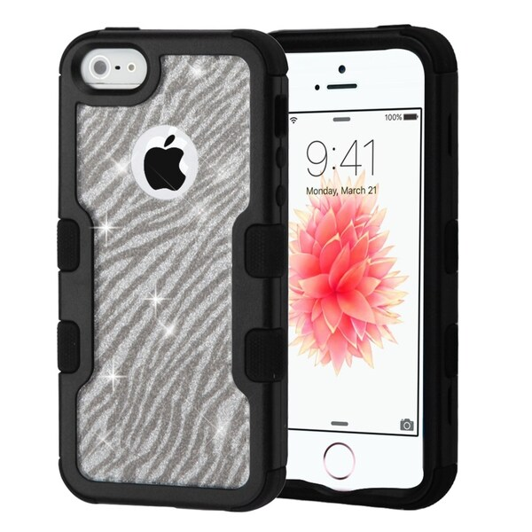 Insten Silver/Black Zebra Glitter Hard Snap-on Dual Layer Hybrid Case Cover For Apple iPhone 5/5S/SE