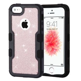 Insten Rose Gold/Black Glitter Hard Snap-on Dual Layer Hybrid Case Cover For Apple iPhone 5/5S/SE
