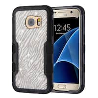 Insten Silver/Black Glitter Hard Snap-on Dual Layer Hybrid Case Cover For Samsung Galaxy S7