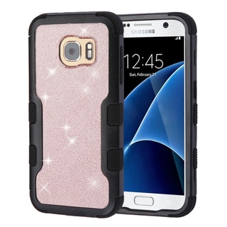 Insten Rose Gold/Black Glitter Hard Snap-on Dual Layer Hybrid Case Cover For Samsung Galaxy S7