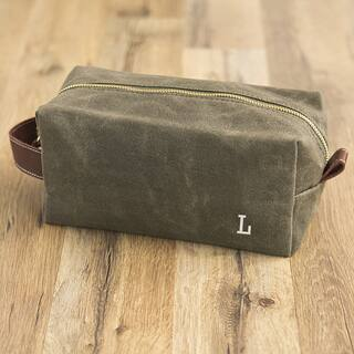 Personalized Men's Olive Green Waxed Canvas and Leather Dopp Kit https://ak1.ostkcdn.com/images/products/16719998/P23034445.jpg?impolicy=medium