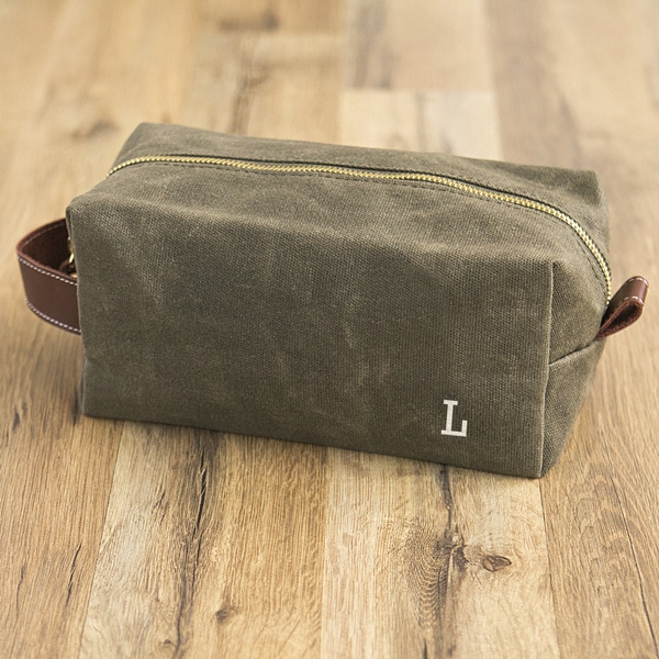 Personalized Men's Olive Green Waxed Canvas and Leather Dopp Kit