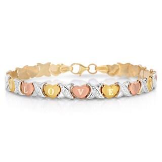 10K Gold Tri Tone I Love You Bracelet, 8 Inches