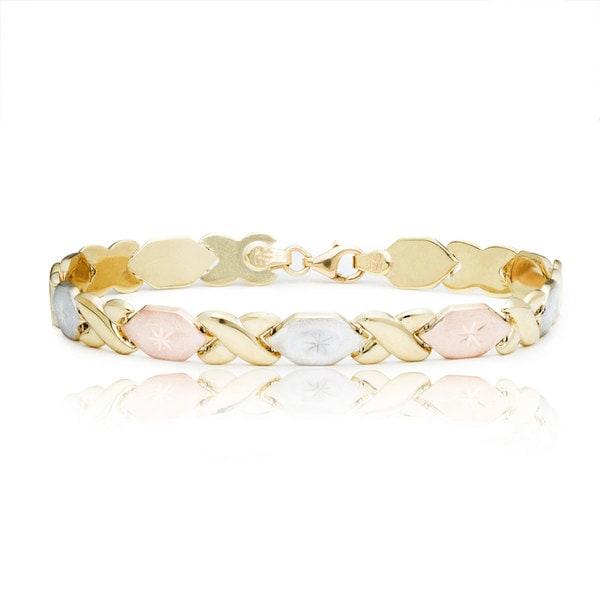 10K Gold Tri Tone Stamato XO Bracelet, 7 Inches