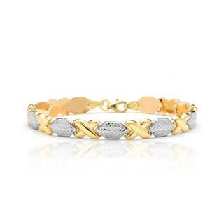 10K Yellow and White Gold Stamato XO Bracelet, 8 Inches