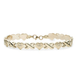 10K Yellow Gold Stamato XO Heart Bracelet, 8 Inches