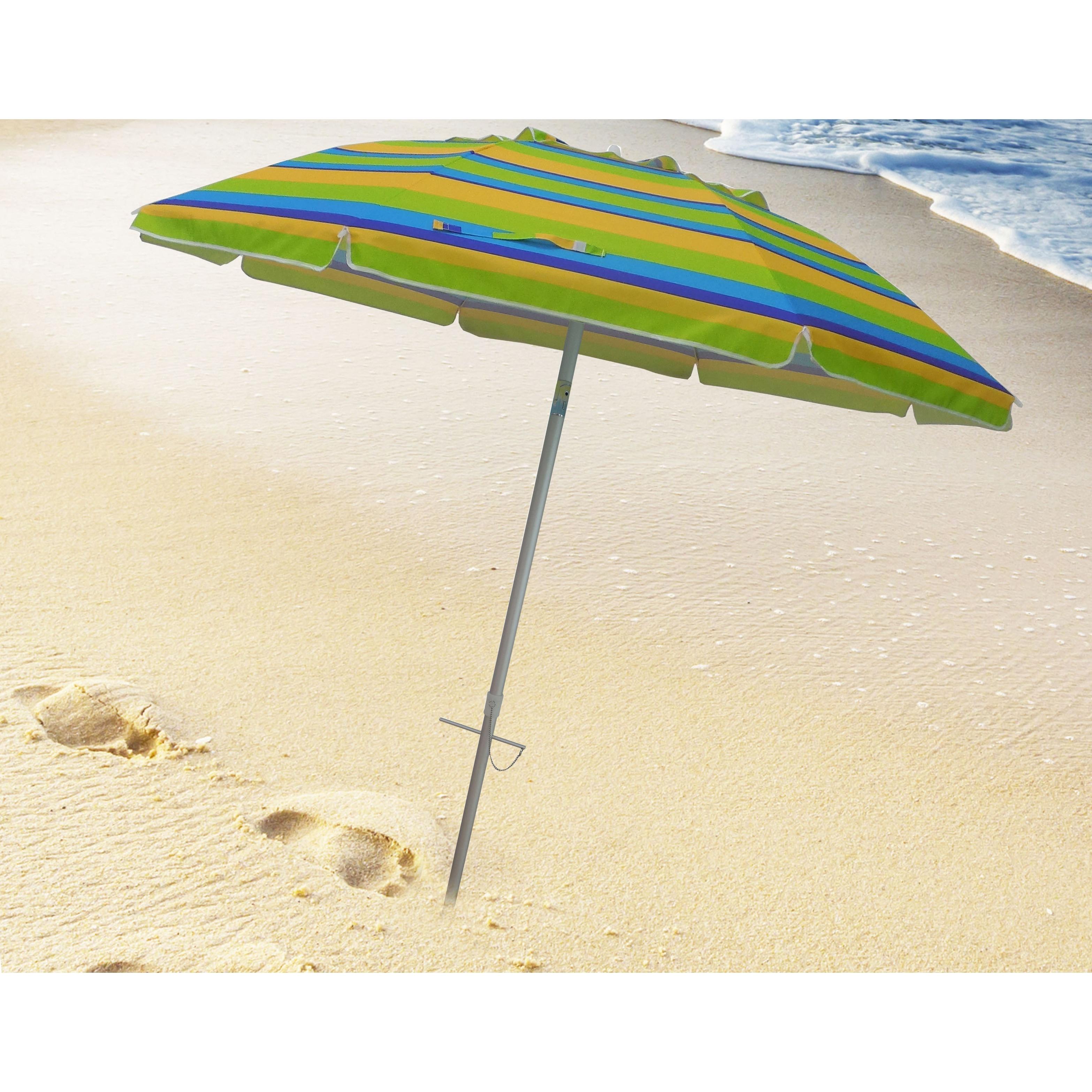 7 Foot Stripe Beach Umbrellas With Tilt And Travel Bag