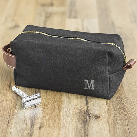 """Personalized Men's Black Waxed Canvas and Leather Dopp Kit - 9""""l x 4.5""""w x 4""""h"""