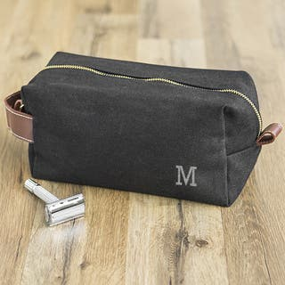 Personalized Men's Black Waxed Canvas and Leather Dopp Kit https://ak1.ostkcdn.com/images/products/16720089/P23034504.jpg?impolicy=medium