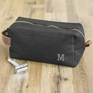 "Personalized Men's Black Waxed Canvas and Leather Dopp Kit - 9""l x 4.5""w x 4""h"