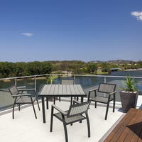 Madison Park Lester Grey/ Dark Bronze Outdoor Arm Chair - Set of 2