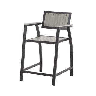 Madison Park Lester Grey/ Dark Bronze Outdoor Counter Stool