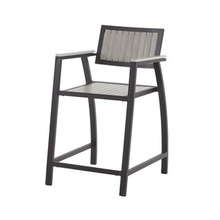 Madison Park Lester Grey and Dark Bronze Outdoor Counter Stool