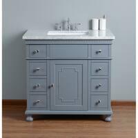 Stufurhome Abigail Embellished 36 in. Grey Single Sink Bathroom Vanity