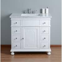 Stufurhome Abigail Embellished 36in. White Single Sink Bathroom Vanity