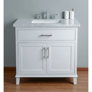 Stufurhome Leigh 36 in. White Single Sink Bathroom Vanity