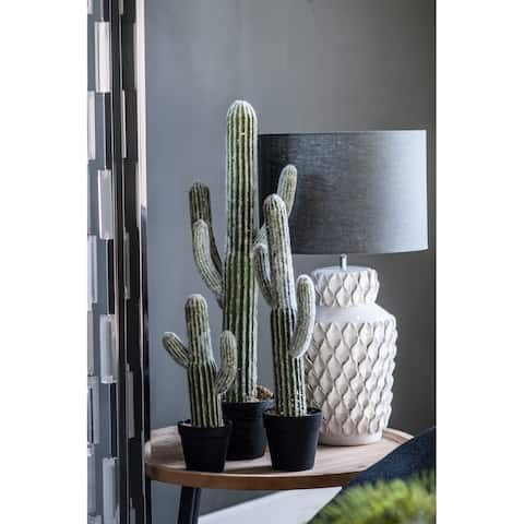 A&B Home White and Green 24.5-inch Potted Faux Saguaro Cactus