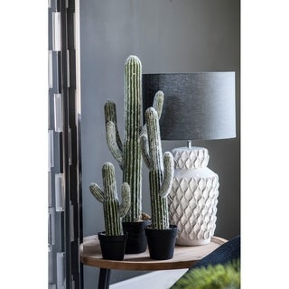 White and Green 24.5-inch Potted Faux Saguaro Cactus