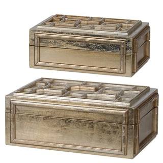 Gold-tone Distressed Handmade Novelty Boxes (Set of 2)