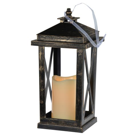A&B Home Menifee 11-inch Tall Lantern with LED Candle
