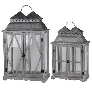 Grey Wood/Metal Farmhouse-style Lanterns (Set of 2)