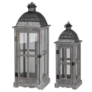 Grey Wood and Metal Lanterns (Set of 2)