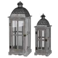Grey Wood and Metal Lanterns (Set of 2)