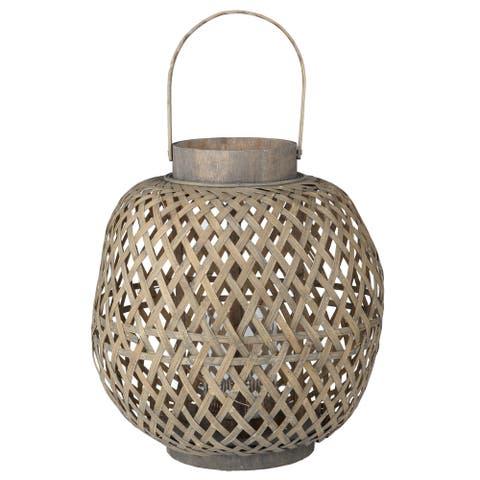 A&B Home Coconio Wood Lattice Oval Lantern
