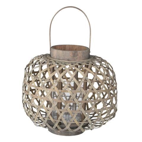 A&B Home Coconio Wood Lattice Round Lantern
