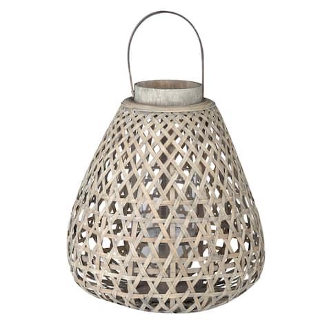 A&B Home Coconio Wood Lattice Tapered Lantern