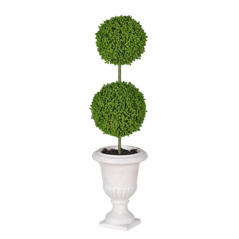 "D4x15.5""H Two- Tier RoundFaux Topiary - Cream Pot"