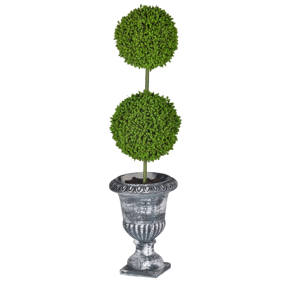 """D4x15.5""""H Two - Tier Round Faux Topiary - Black Pot. Opens flyout."""