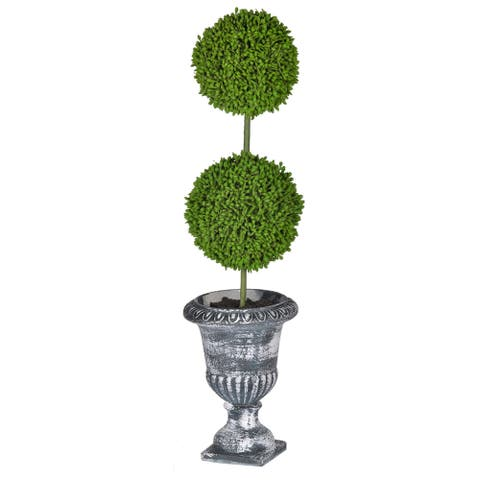 "D4x15.5""H Two - Tier Round Faux Topiary - Black Pot"
