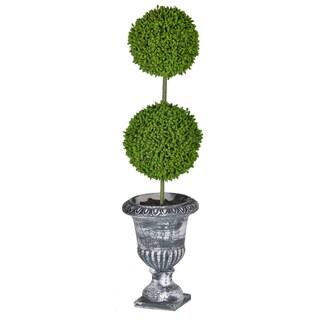 "D4x15.5""H Two - TierRound Faux Topiary - Black Pot"