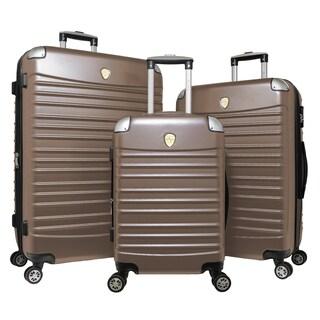 World Traveler 3-piece Hardside Lightweight Spinner Rolling Luggage Set (Option: Champagne)
