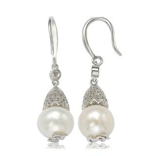 Suzy Levian Sterling Silver Pearl & White Sapphire Hook Earrings