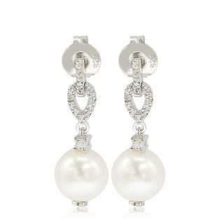Suzy Levian Sterling Silver Pearl & White Sapphire Dangle Earrings