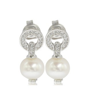 Suzy Levian Sterling Silver Pearl & White Sapphire Circle Earrings