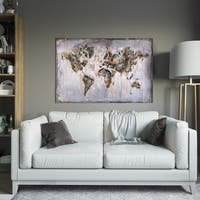 Yosemite Home Decor Map in Neutrals Original Hand-Painted Wall Art