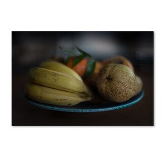 Vito Guarino 'Still Life With Fruit And Blue Plate' Canvas Art