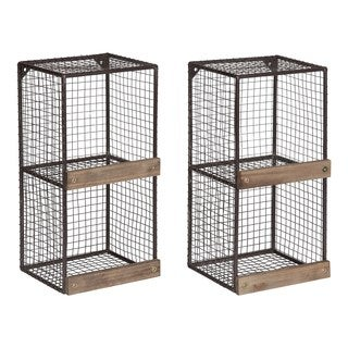 Kate and Laurel Linde 2-pack Metal Cage Organizer Wall Shelves