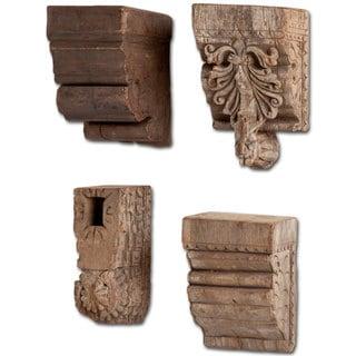 Mercana Negundo Brown Wood Candle Holder (Set of 4)