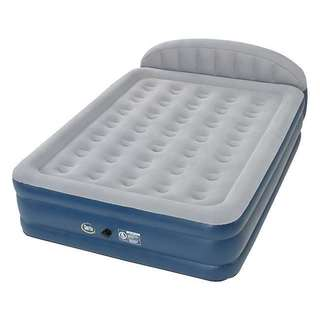 Serta Blue/Grey Polyvinyl Chloride 18-inch Raised Queen Airbed with Headboard and External Pump