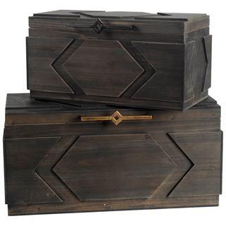 Mercana Cassia Brown Wood Decorative Box (Set of 2)