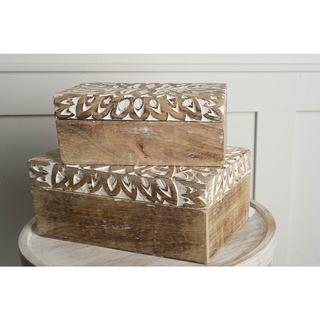Mercana Theca II Brown Wood Decorative Box (Set of 2)