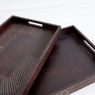 Mercana Bonessa II Brown Wood Trays (Set of 2)