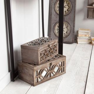 Mercana Estooki Beige Wood 2-piece Decorative Box Set