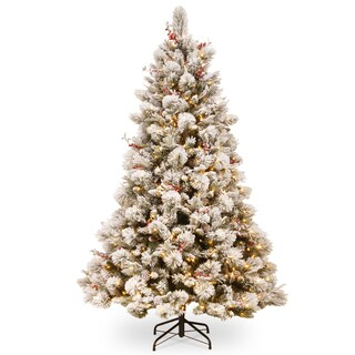 National Tree Company Snowy Bedford Pine 7.5-foot Tree With Clear Lights